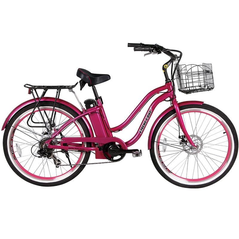 X-Treme E-Bike Malibu Step Thru Electric Bicycle - Pink
