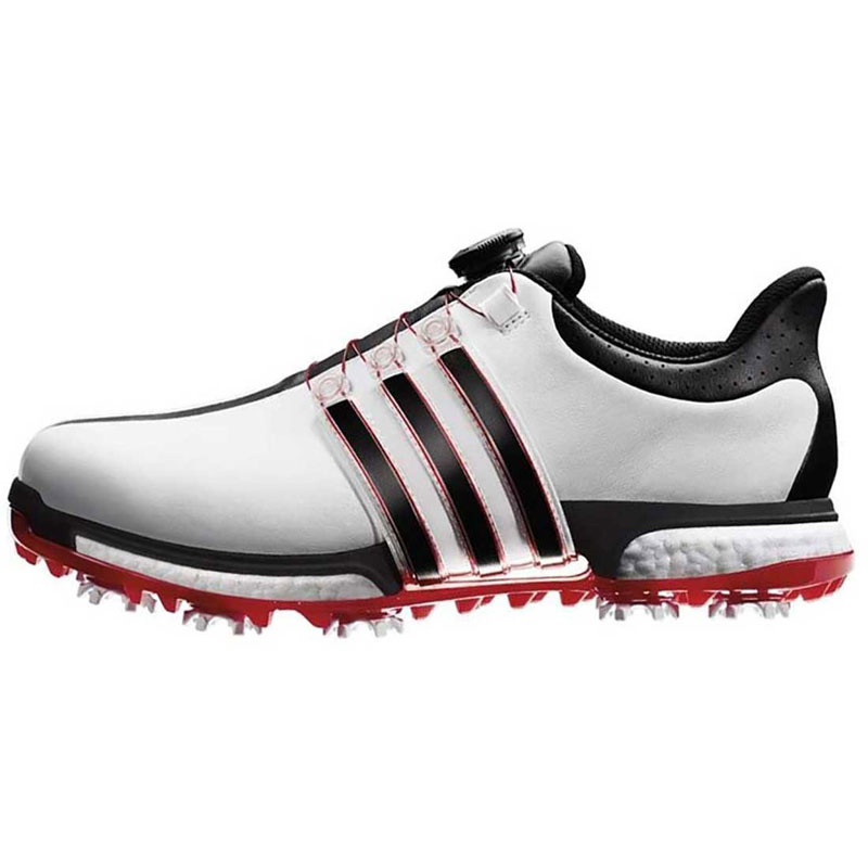 2016 Adidas Tour 360 Boost BOA Golf Shoes - White/Black/Red