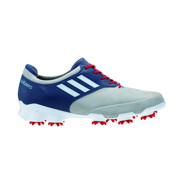 Adidas adizero Tour Golf Shoes - Mens Wide Grey/White/Blue