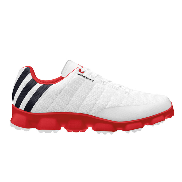 Adidas Crossflex Golf Shoes - Mens White/Black/Red
