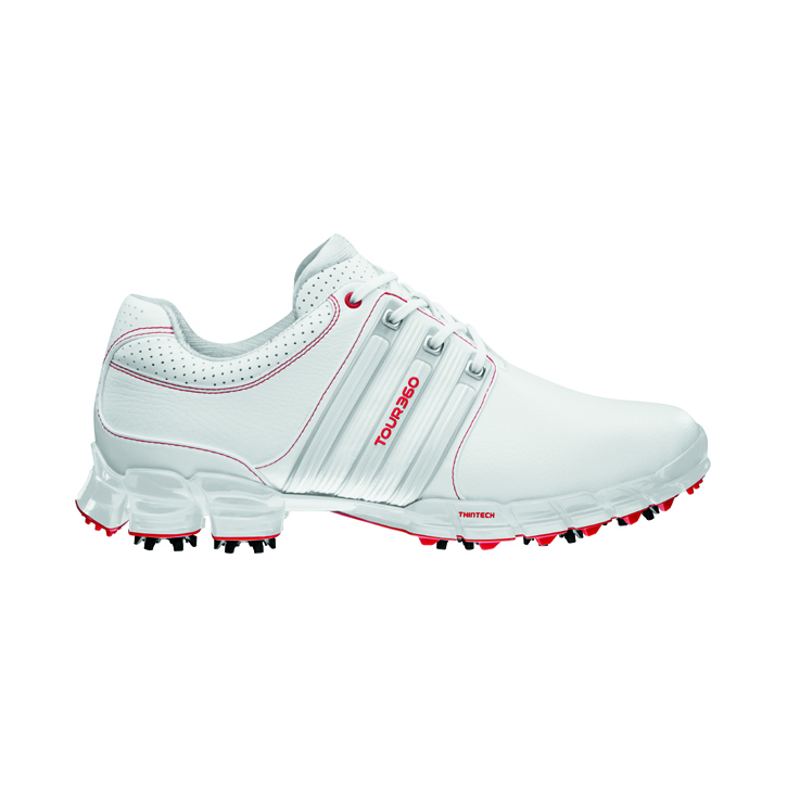 Adidas Tour 360 ATV M1 Golf Shoes - Mens Wide White/Silver/Red