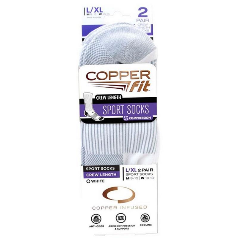 Copper Fit Crew Socks (2 Pack) - White