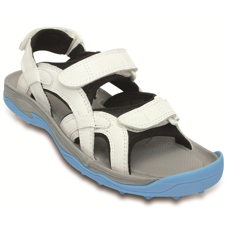 Crocs XTG LoPro Golf Sandal - Womens Oyster/Electric Blue Image