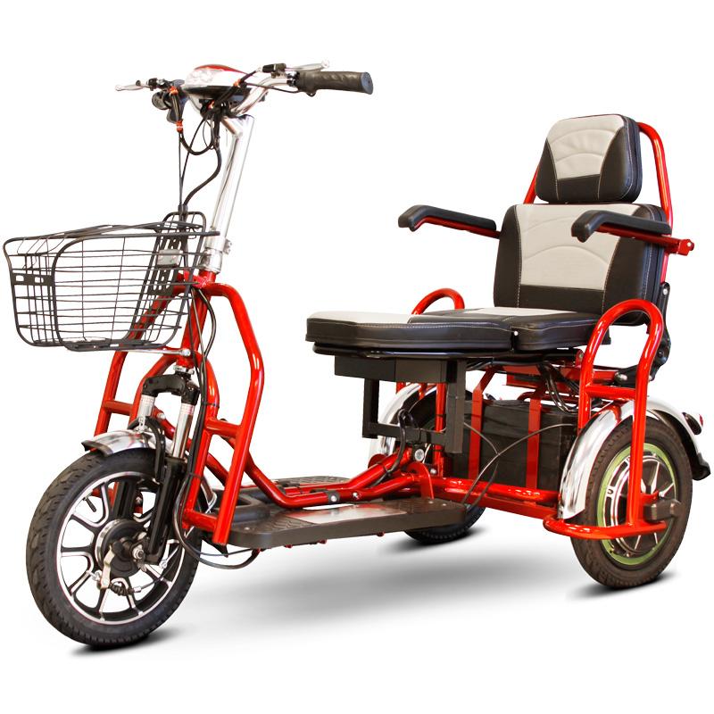 eWheels EW-02 Folding Electric 3-Wheel Mobility Scooter - 2 Passenger - Red