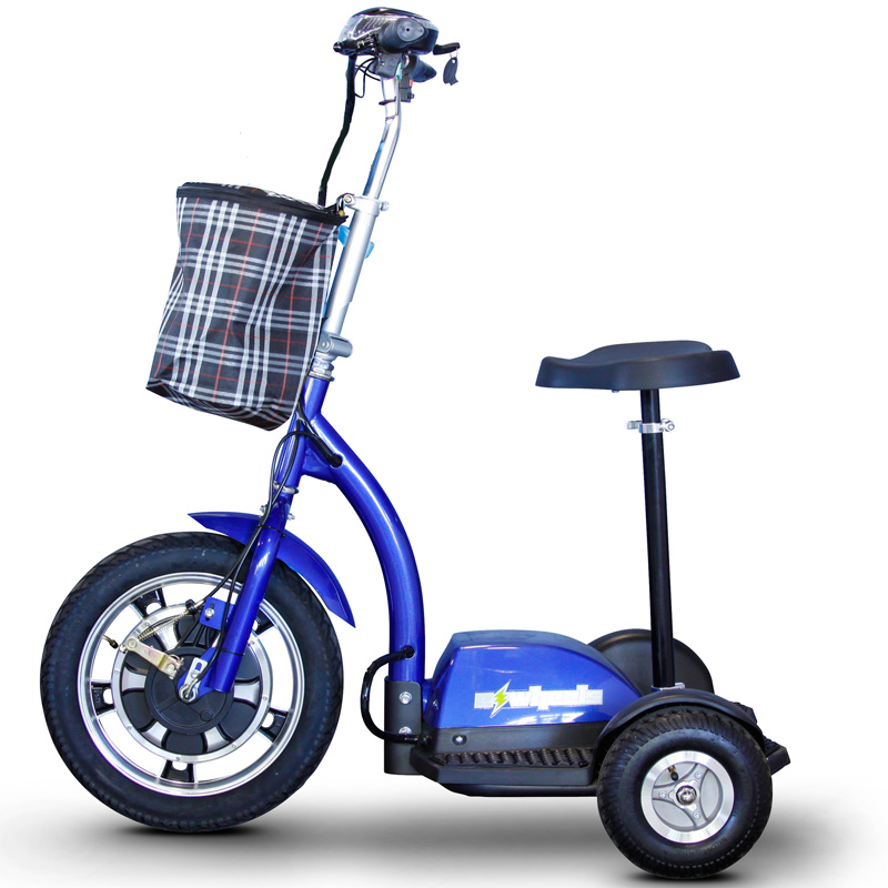 eWheels EW-18 Electric 3-Wheel Mobility Scooter - Sit or Stand - Blue