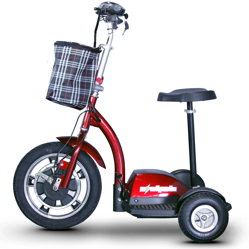 eWheels EW-18 Electric 3-Wheel Mobility Scooter - Sit or Stand - Red