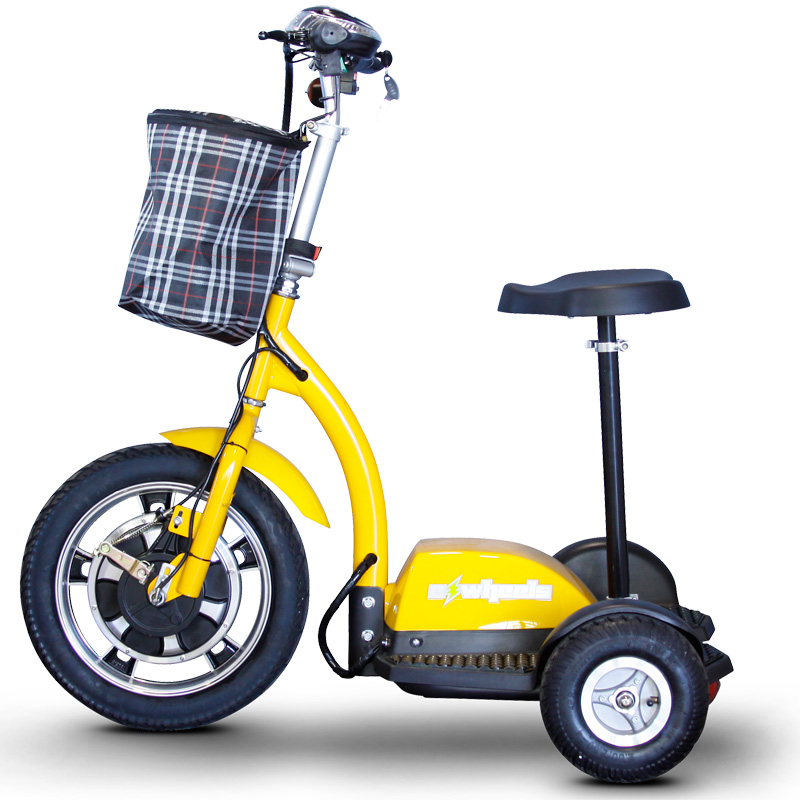 eWheels EW-18 Electric 3-Wheel Mobility Scooter - Sit or Stand - Yellow