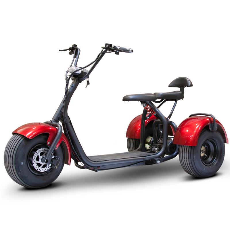 eWheels EW-21 Chopper Trike - Fat Tire Electric Scooter - Red