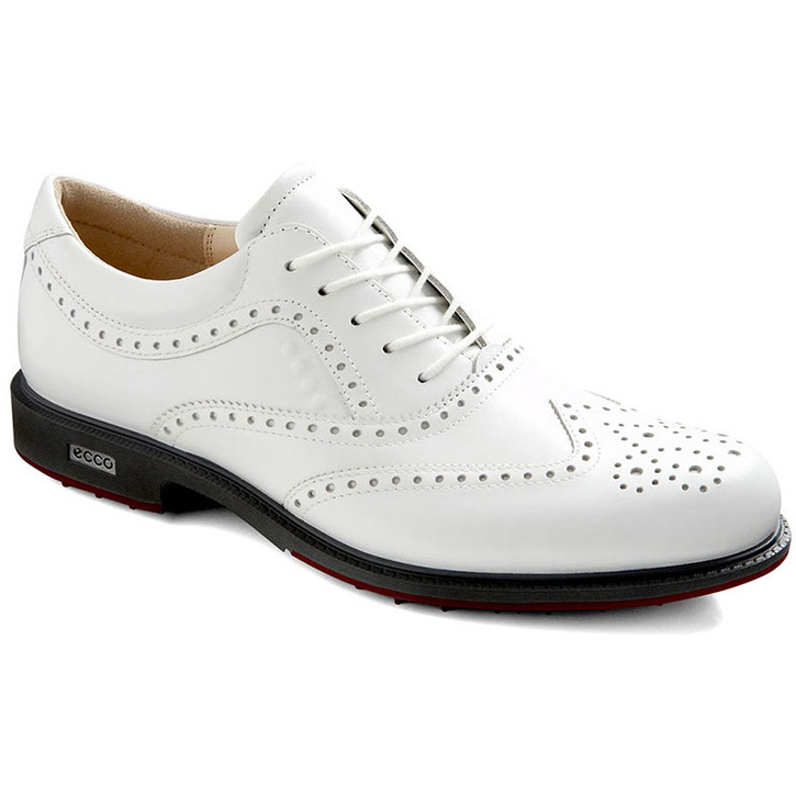 Ecco Tour Hybrid Wingtip Golf Shoes - Mens White/Brick at InTheHoleGolf.com