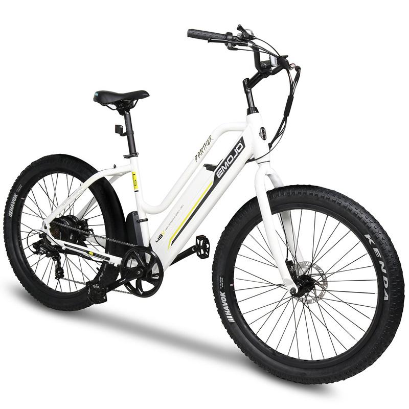 Emojo Panther Electric Step Thru Bicycle - White