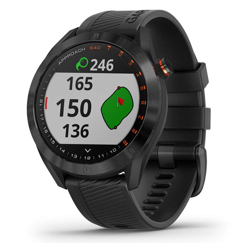 Garmin Approach S40 GPS Golf Watch - Black Stainless Steel with Black Band