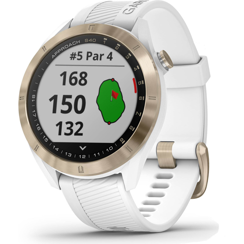 Garmin Approach S40 GPS Golf Watch - Light Gold with White Band
