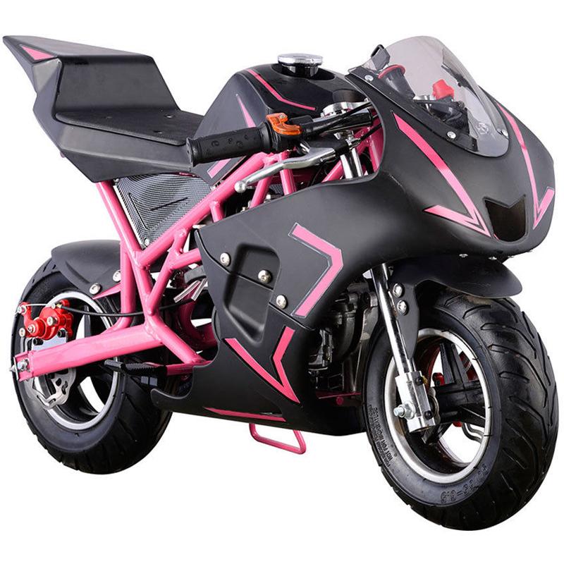 Go-Bowen 40cc 4-Stroke Gas Pocket Bike - Mini Motorcycle - Black/Pink