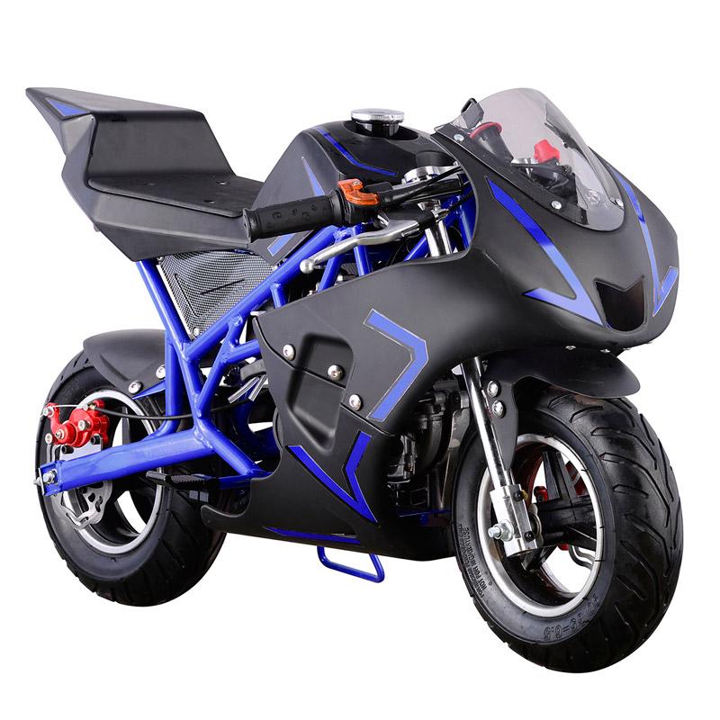 Go-Bowen 40cc 4-Stroke Gas Pocket Bike - Mini Motorcycle - Blue/Black