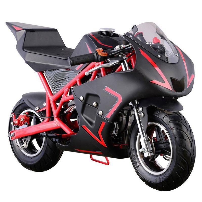 Go-Bowen 40cc 4-Stroke Gas Pocket Bike - Mini Motorcycle - Red/Black