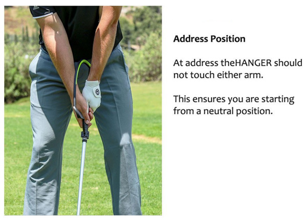 The Hanger Golf Training Aid Address Position