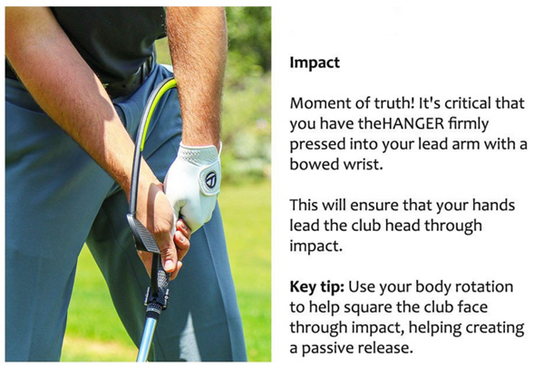 The Hanger Golf Training Aid Impact Position