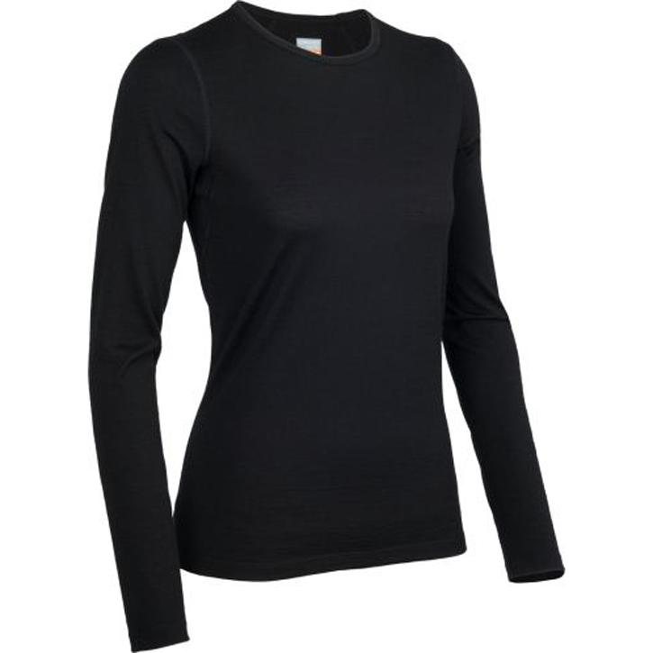 Icebreaker 200 Oasis Long Sleeve Crew - Womens Black
