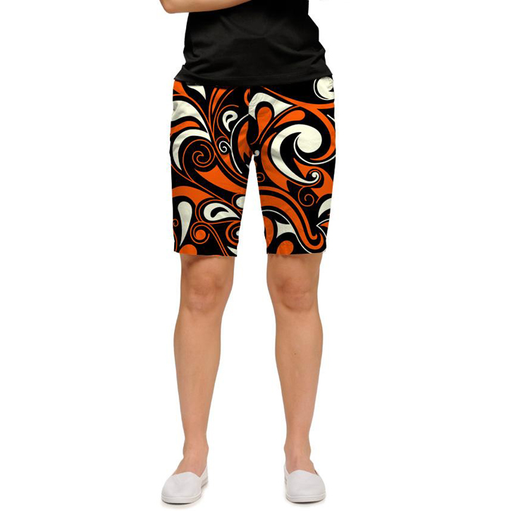 Loudmouth Golf Womens Shorts - Orange & Black