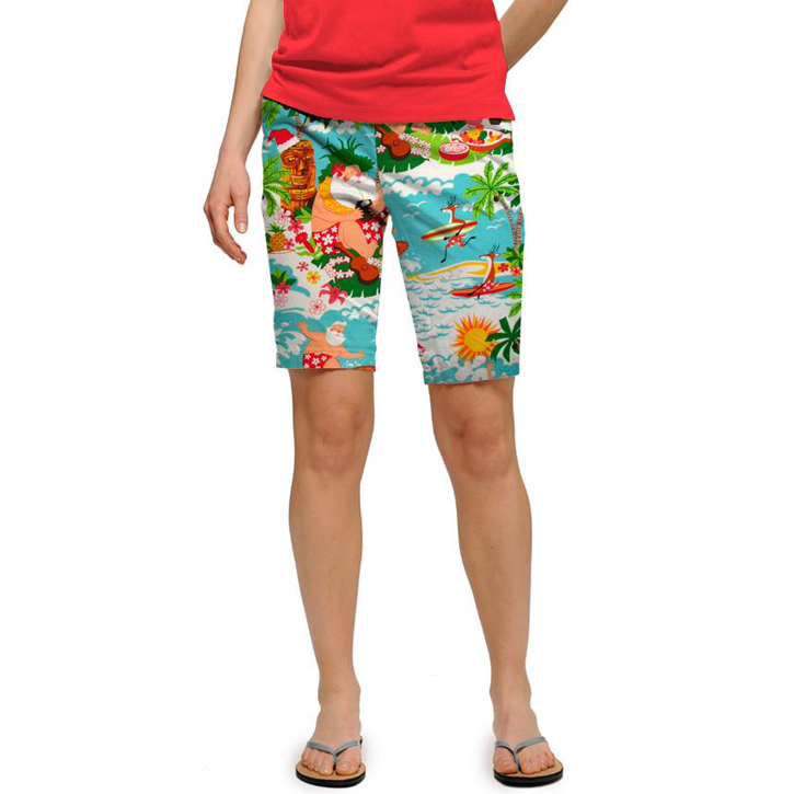 Loudmouth Golf Womens Shorts - Surfing Santas Image