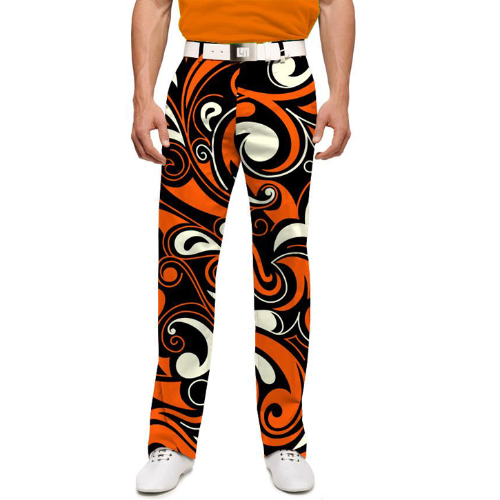Loudmouth Golf Pants - Orange & Black Splash