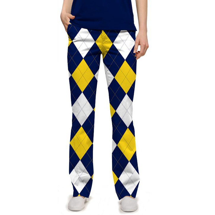 Loudmouth Golf Par Three Pants - Blue & Gold Mega