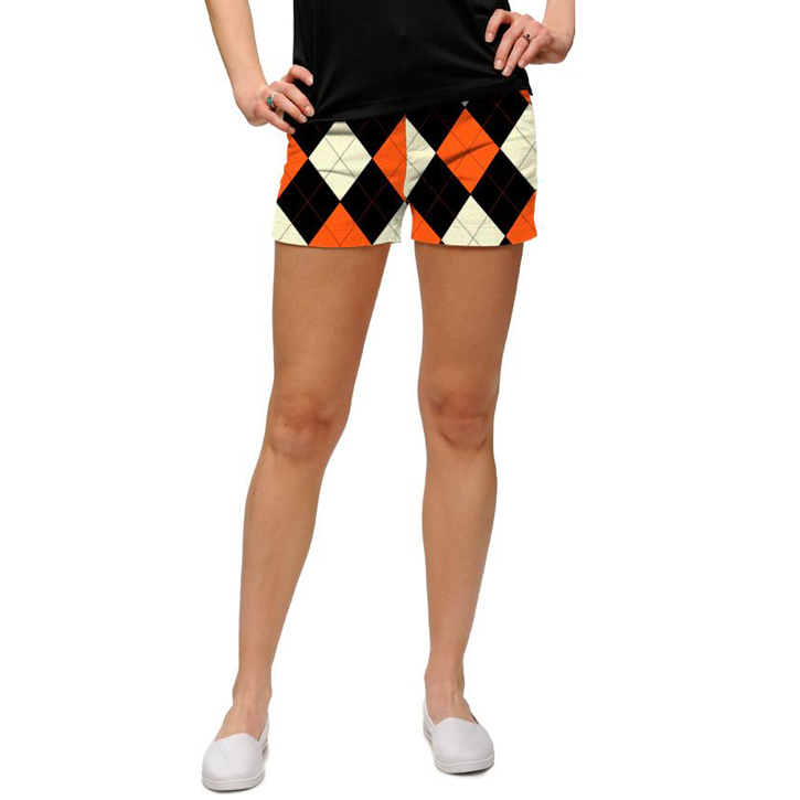 Image of Loudmouth Golf Womens Mini Shorts - Orange & Black