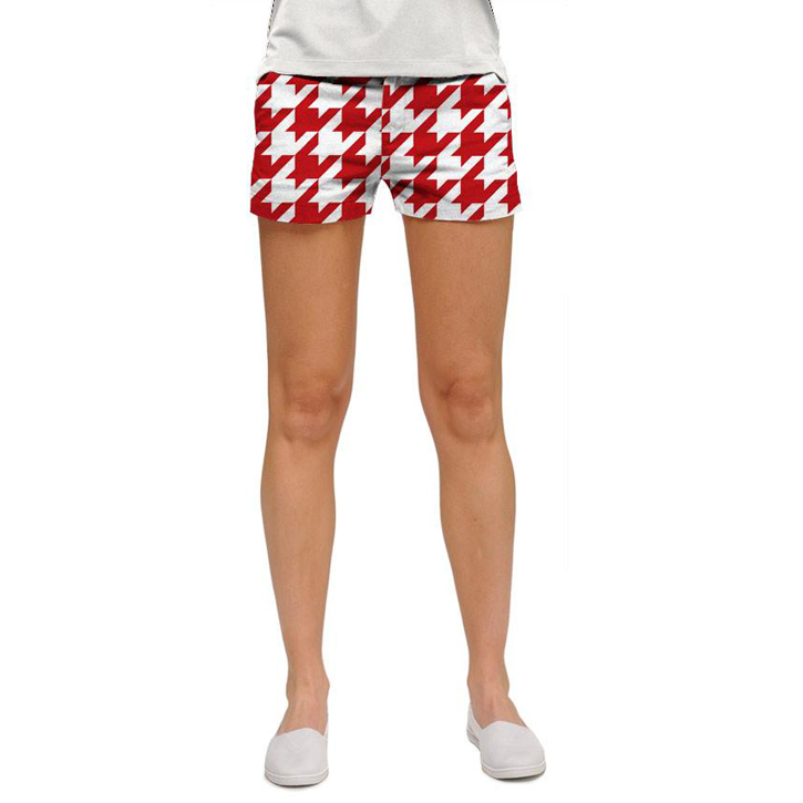 Loudmouth Golf Womens Mini Shorts - Red Tooth