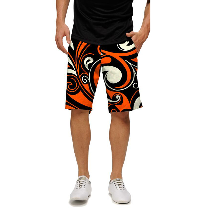 Loudmouth Golf Shorts - Orange & Black Splash