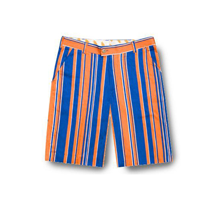 Image of Loudmouth Golf Shorts - Orange & Blue Stripes