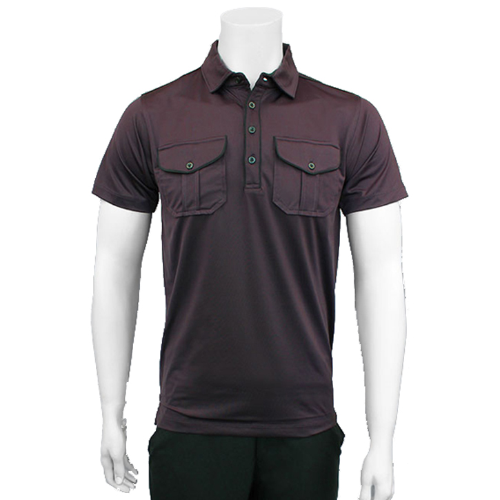 Matte Grey Castro Golf Shirt - Wine/Black