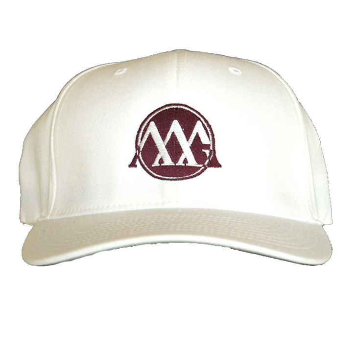 Matte Grey Circle-Con Hat - White/Wine