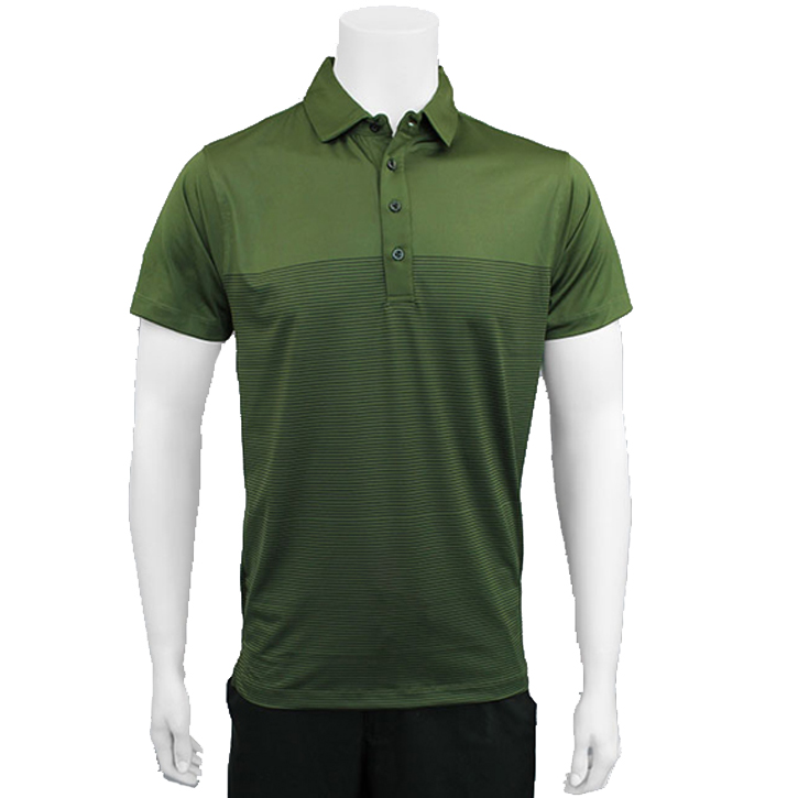 Matte Grey Dropstripe Golf Shirt - Olive/Black