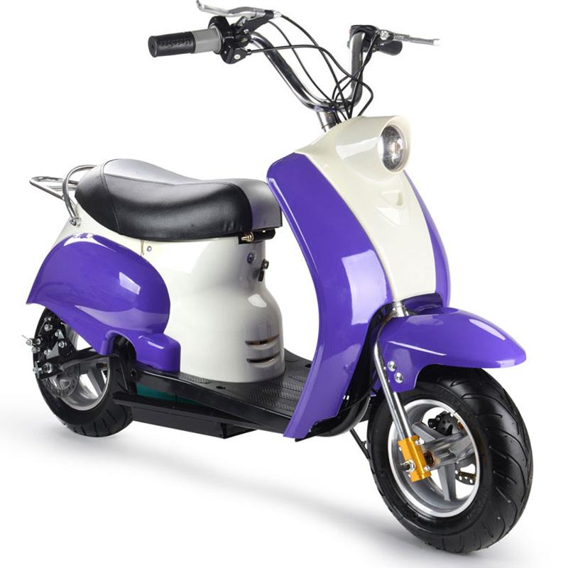 MotoTec 24V Electric Moped - Purple