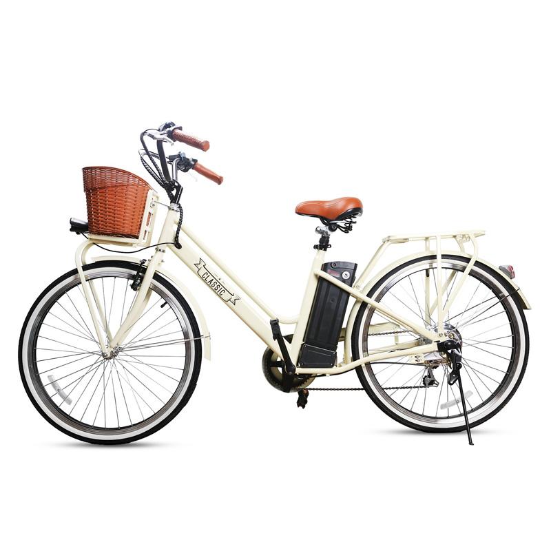 Nakto Classic Low-Step Electric City Bike - White