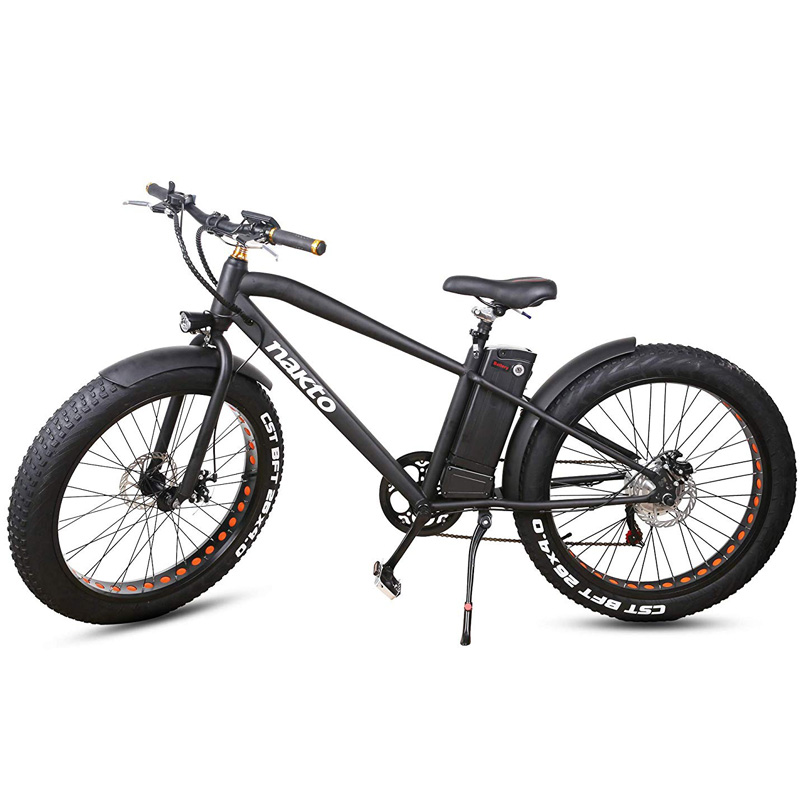 Nakto Fat Tire Electric Cruiser Bicycle - Black