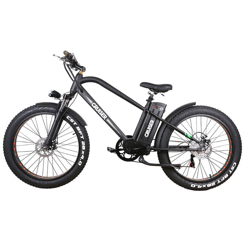 Nakto Fat Tire Electric Super Cruiser Bicycle 500W - Black