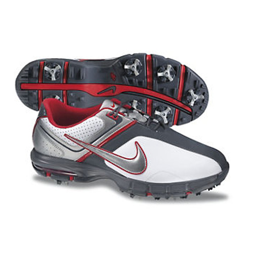 Nike 2013 Air Rival Golf Shoes - Mens Wide White/Silver/Red Image
