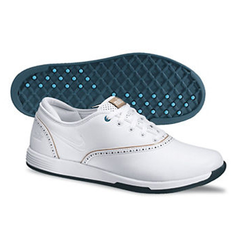 Nike 2013 Lunar Duet Classic Golf Shoes - Womens Wide White/Tan Image