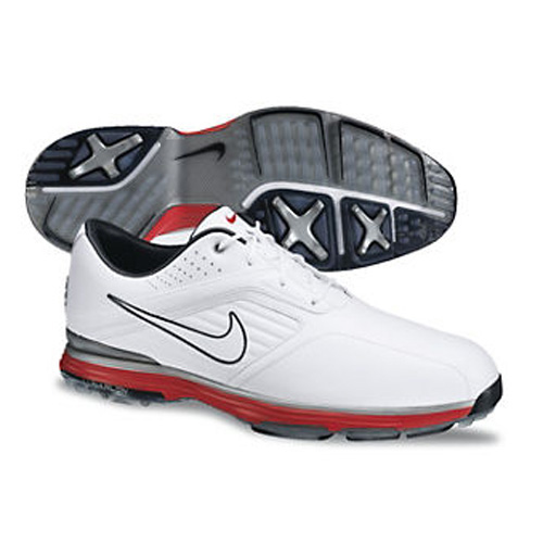 Nike 2013 Lunar Prevail Golf Shoes - Mens White/Silver/Red