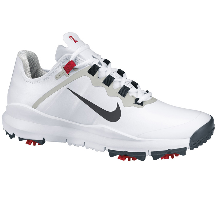 Nike TW '13 Golf Shoes - Wide White/Anthracite - Varsity Red Image