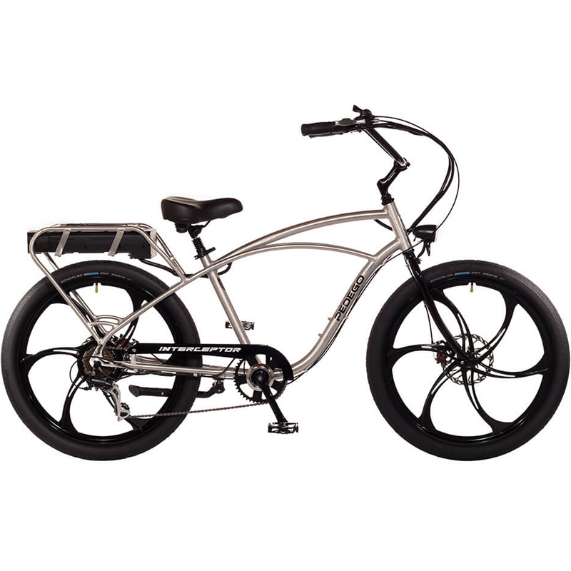 2019 Pedego Classic Interceptor III Electric Bicycle - Mag Wheels - Brushed Aluminum