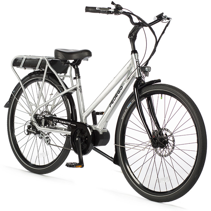 """2019 Pedego Step-Thru City Commuter Mid-Drive Electric Bicycle 28"""" - Brushed Aluminum"""