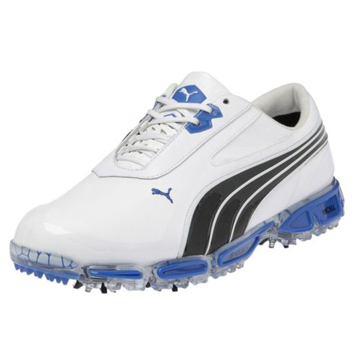 Puma Amp Cell Fusion Golf Shoes - Mens White/Black/Blue
