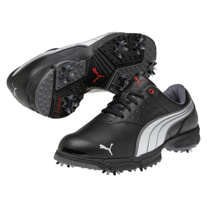 Puma Amp Sport Golf Shoes - Mens Wide Black/Silver Red