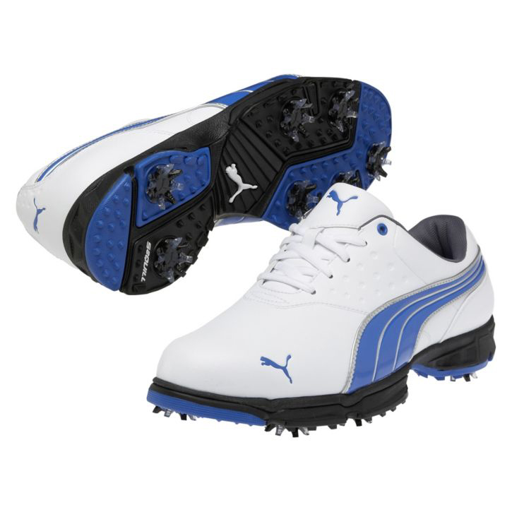 Puma Amp Sport Golf Shoes - Mens Wide White/Blue
