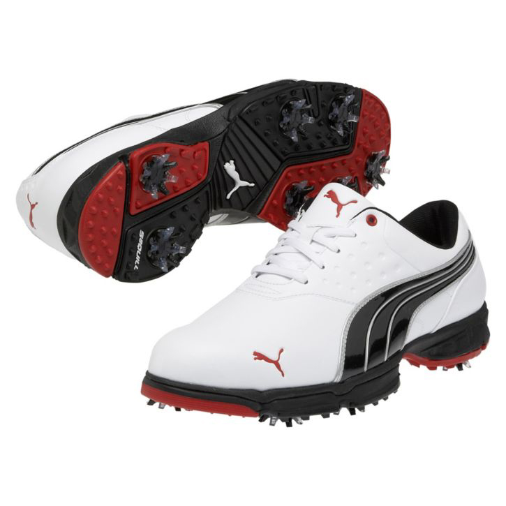 Puma Amp Sport Golf Shoes - Mens White/Black/Red