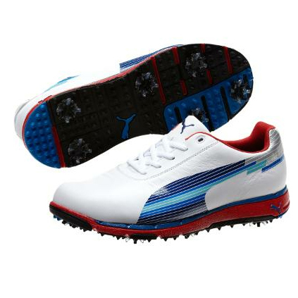 Puma Jigg Golf Shoes - Mens White/Fiery Red/Silver at
