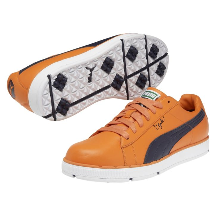 Puma PG Clyde Golf Shoes - Vibrant Orange/Evening Blue at InTheHoleGolf.com