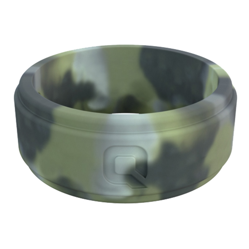 Qalo Silicone Wedding Ring - Step Edge Q2X - Mens Brush Camo